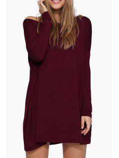 Boat Neck Loose Fitting Dress - Wine Red M