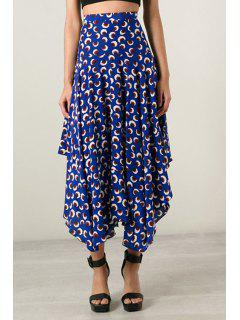 Asymmetrical Floral Printed Skirt - Blue S