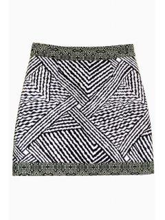 Black White Stripe Skirt - White And Black