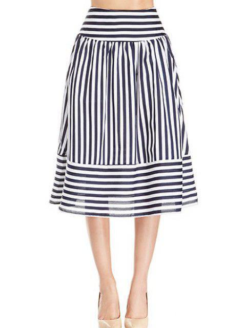 new Stripe Panel Skirt - WHITE AND BLACK XL Mobile