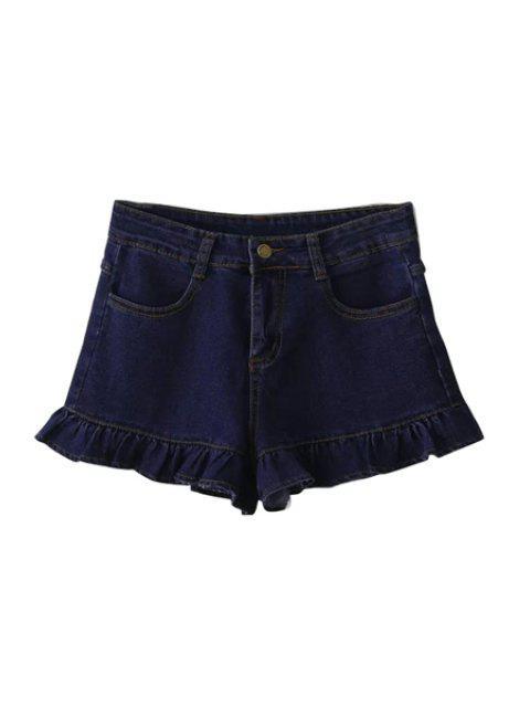 ladies Deep Blue Denim Wide Leg Shorts - DEEP BLUE S Mobile