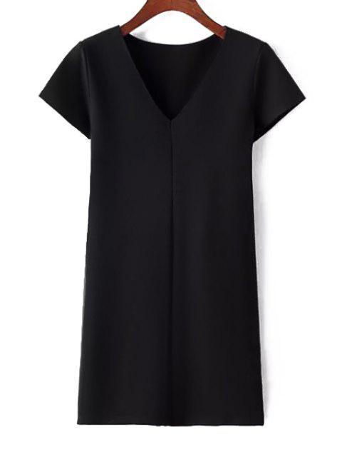fancy Pure Color Plunging Neck Short Sleeve Dress - BLACK S Mobile