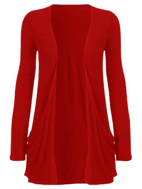 shop Pure Color Long Sleeve Cardigan - RED 2XL Mobile