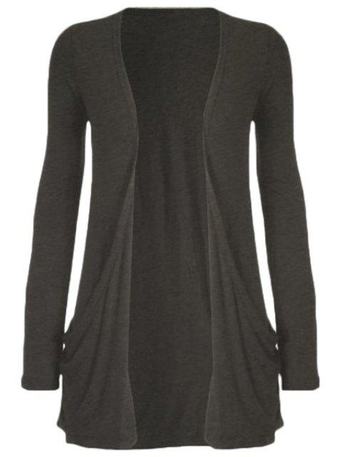 womens Pure Color Long Sleeve Cardigan - DEEP GRAY L Mobile