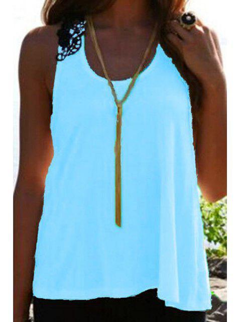women's Lace Spliced Crochet Flower Hollow Out Tank Top - BLUE S Mobile