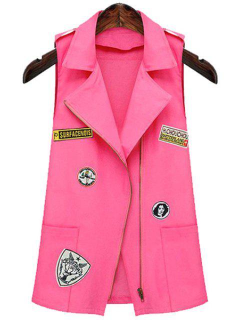 chic Epaulet Embellished Appliqued Pink Waistcoat - PINK M Mobile