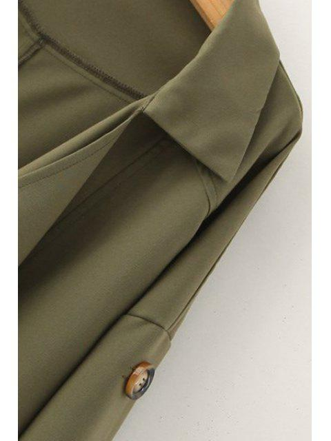 outfit Golilla Solid Color Buttons Long Sleeve Trench Coat - KHAKI L Mobile