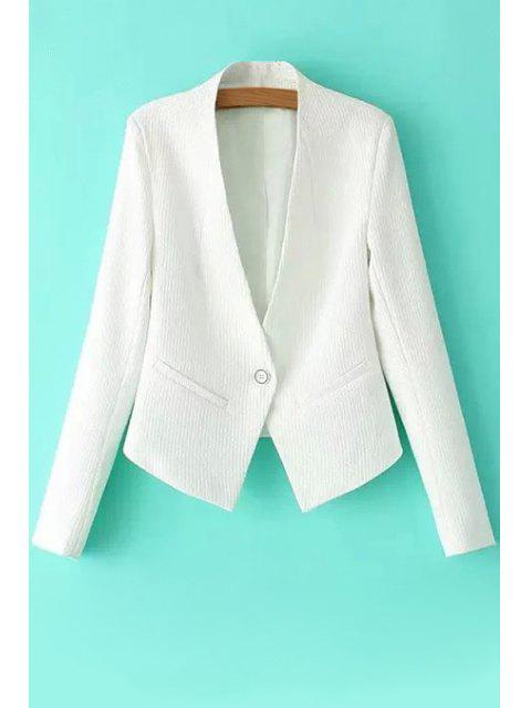 trendy One Button Solid Color Long Sleeve Blazer - WHITE S Mobile