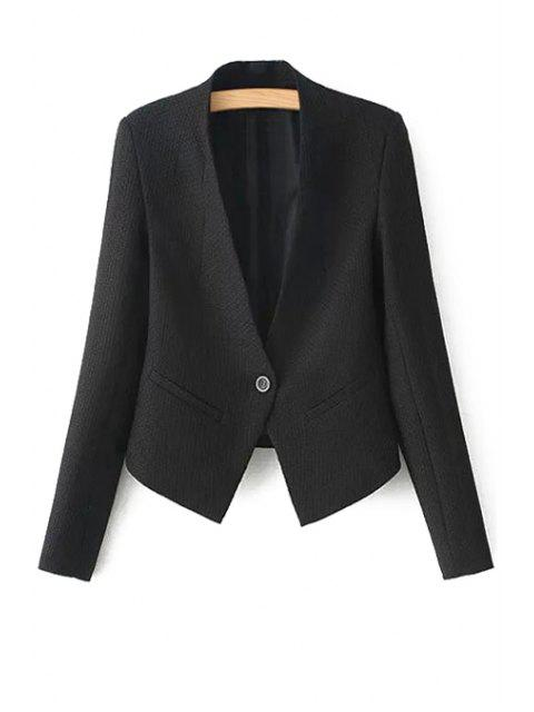 fancy One Button Solid Color Long Sleeve Blazer - BLACK S Mobile