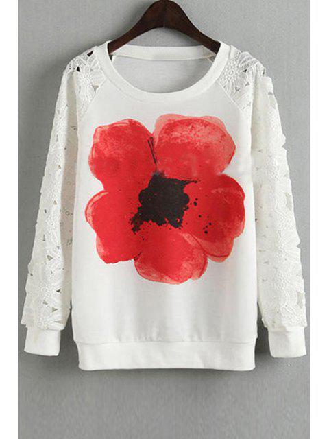 Sweat-shirt à Fleur à Manches Longues en Dentelle - Blanc S Mobile