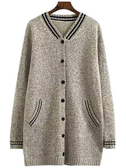 chic V-Neck Color Block Stripe Cardigan - LIGHT GRAY ONE SIZE(FIT SIZE XS TO M) Mobile