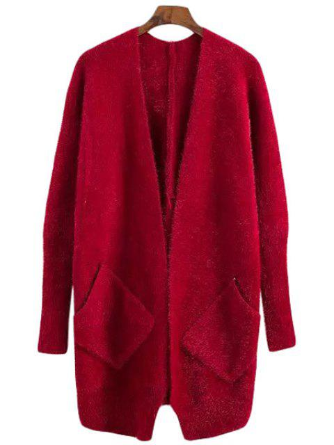 fancy Solid Color Mohair Long Sleeve Cardigan - RED ONE SIZE(FIT SIZE XS TO M) Mobile