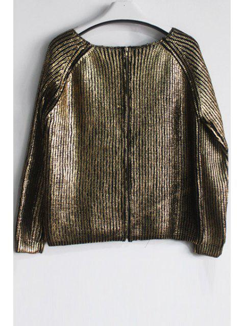 chic Loose-Fitting Knitted Sparkle and Glitter Sweater - GOLDEN ONE SIZE(FIT SIZE XS TO M) Mobile