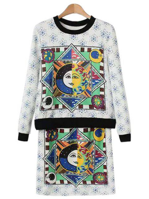 shops Figure Floral Print Long Sleeve Sweatshirt + Skirt - WHITE S Mobile