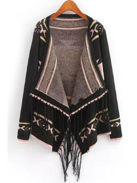 latest Turn-Down Collar Geometric Pattern Fringe Cardigan - BLACK ONE SIZE(FIT SIZE XS TO M) Mobile