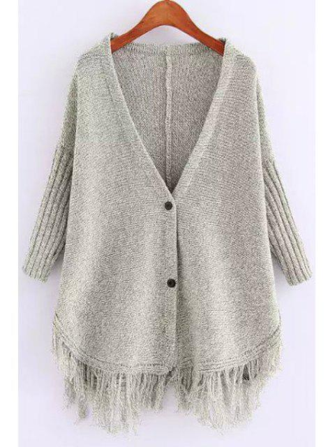 trendy Deep V Neck Fringe Splicing Solid Color Cardigan - GRAY ONE SIZE(FIT SIZE XS TO M) Mobile