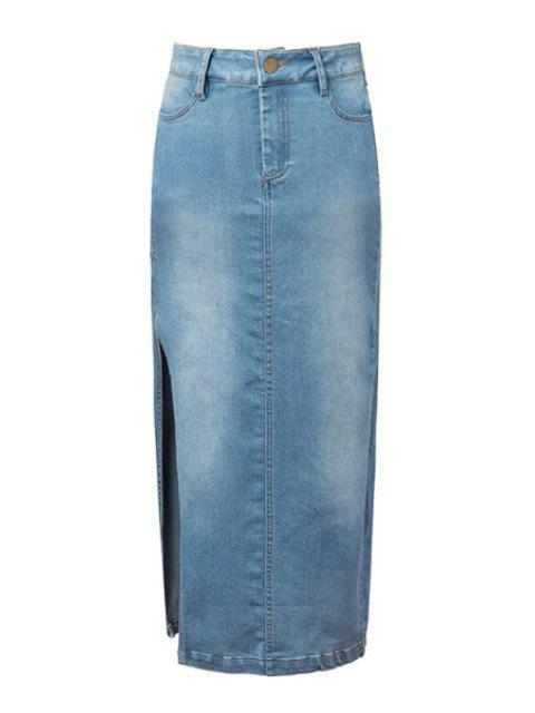 online Denim Blue High Waisted Skirt - LIGHT BLUE S Mobile