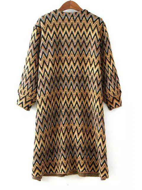 chic Zig Zag Pattern Long Sleeve Cardigan - YELLOW ONE SIZE(FIT SIZE XS TO M) Mobile