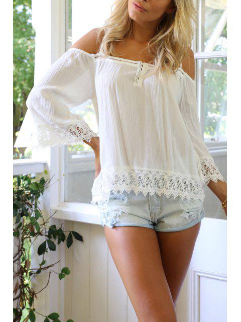 new Lace Spliced Wave Cut White Chiffon Blouse - WHITE M Mobile