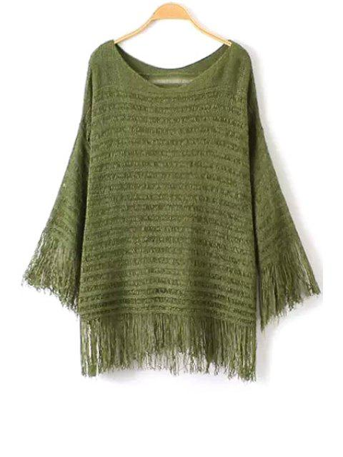 womens Fringe Solid Color Long Sleeve Sweater - ARMY GREEN ONE SIZE(FIT SIZE XS TO M) Mobile