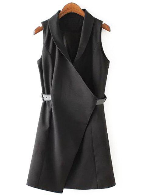 trendy Solid Color Belt Sleeveless Waistcoat - BLACK M Mobile