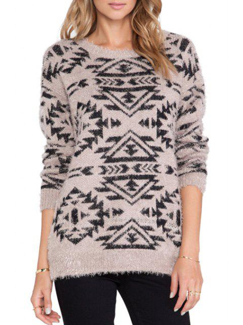 fashion Geometric Pattern Loose-Fitting Knitwear -   Mobile