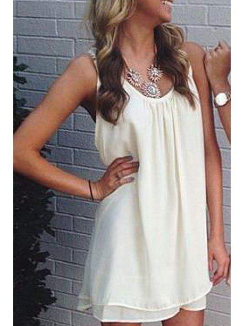 affordable Lace Spliced Scoop Neck Sleeveless Dress - WHITE XL Mobile