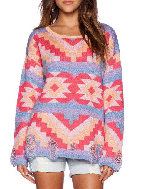 unique Colorful Geometric Pattern Broken Hole Sweater -   Mobile