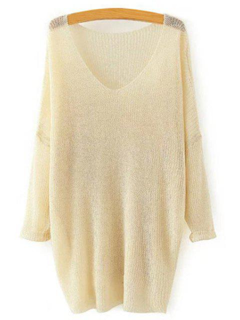outfit Pure Color Loose Long Sleeve Sweater - KHAKI ONE SIZE(FIT SIZE XS TO M) Mobile