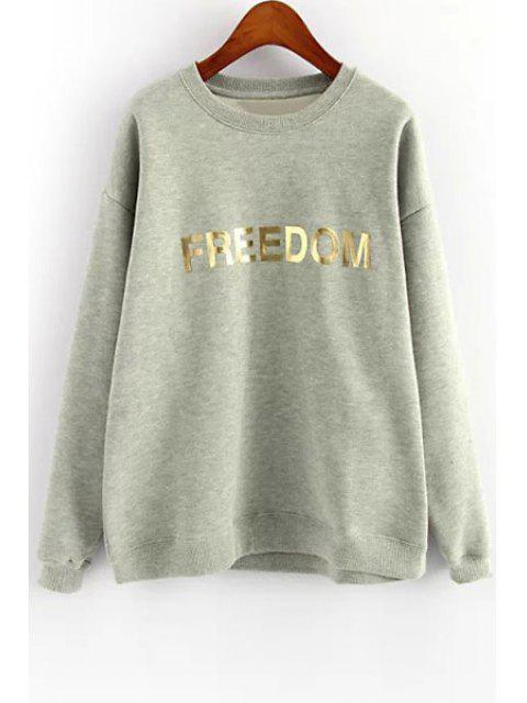 sale Golden Letter Print Long Sleeve Sweatshirt - GRAY ONE SIZE(FIT SIZE XS TO M) Mobile