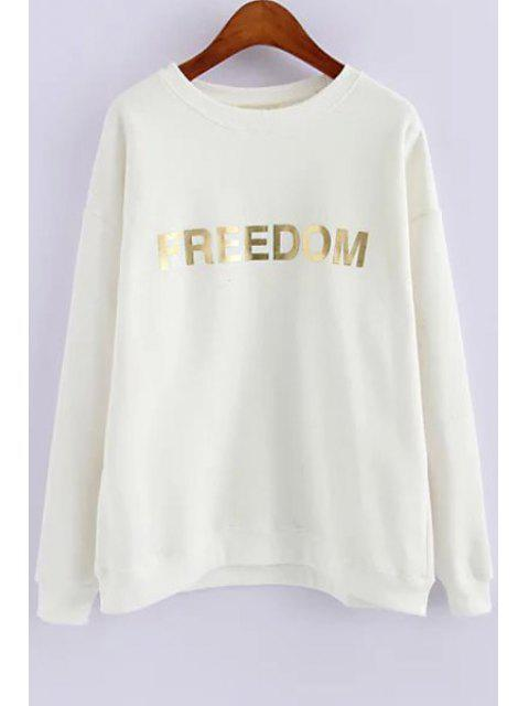 fancy Golden Letter Print Long Sleeve Sweatshirt - WHITE ONE SIZE(FIT SIZE XS TO M) Mobile