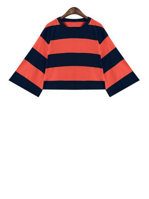 women Wide Sleeve Color Block Striped Crop Top - JACINTH ONE SIZE(FIT SIZE XS TO M) Mobile