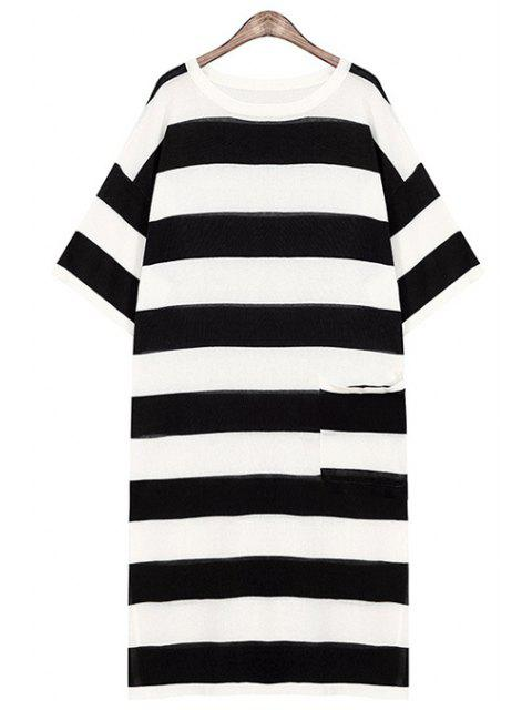 shop Striped One Pocket All-Match Sweater Dress - BLACK ONE SIZE(FIT SIZE XS TO M) Mobile