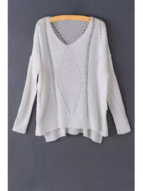 buy Pure Color Hollow Long Sleeve Sweater - WHITE ONE SIZE(FIT SIZE XS TO M) Mobile