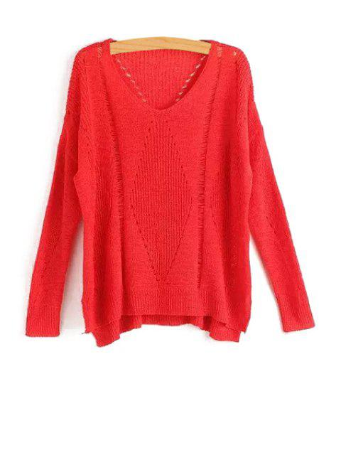 lady Pure Color Hollow Long Sleeve Sweater - RED ONE SIZE(FIT SIZE XS TO M) Mobile