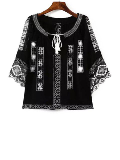 ladies Ethnic Embroidery 3/4 Sleeve Blouse - BLACK M Mobile