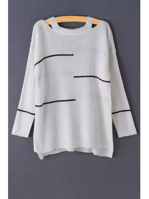 hot Stripes Cut Out Long Sleeve Sweater - WHITE ONE SIZE(FIT SIZE XS TO M) Mobile