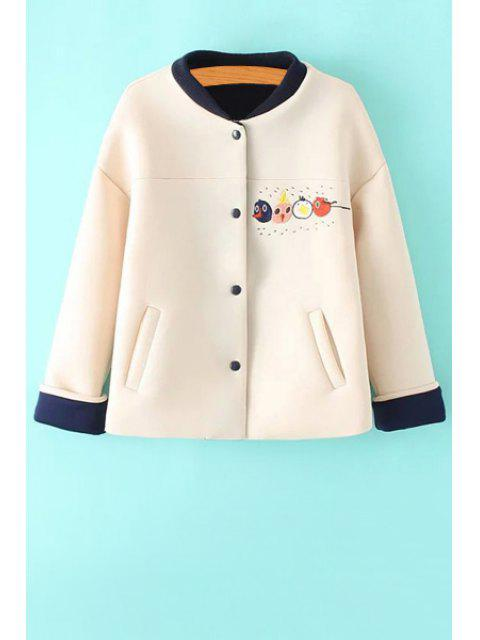 ladies Cartoon Embroidery Stand Neck Jacket - OFF-WHITE M Mobile