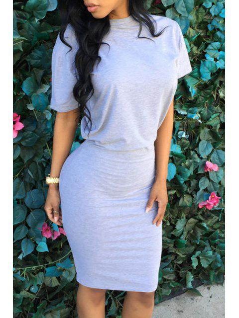 best Pure Color Short Sleeve Bodycon Dress - GRAY XL Mobile