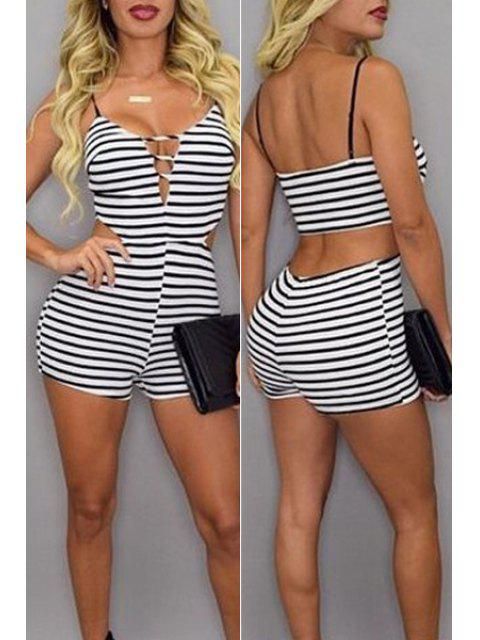 shop Striped Cami Bodycon Romper - WHITE AND BLACK L Mobile