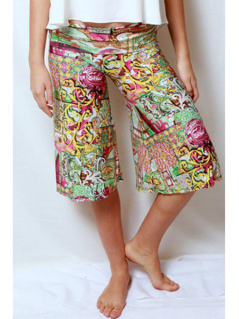 ladies Vintage Print Elastic Waist Fifth Pants - YELLOW XL Mobile