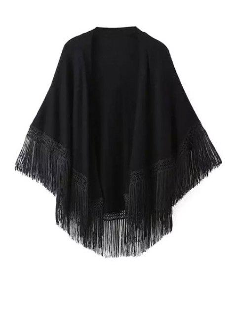 buy Solid Color Tassel Splicing Cardigan - BLACK S Mobile