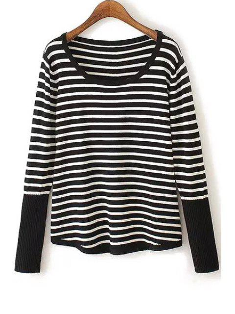 best White Black Stripe Back Buttons Sweater - WHITE AND BLACK ONE SIZE(FIT SIZE XS TO M) Mobile