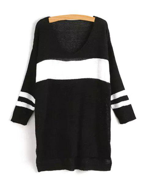 fashion V-Neck Color Block Stripe Long Sleeve Sweater - BLACK ONE SIZE(FIT SIZE XS TO M) Mobile
