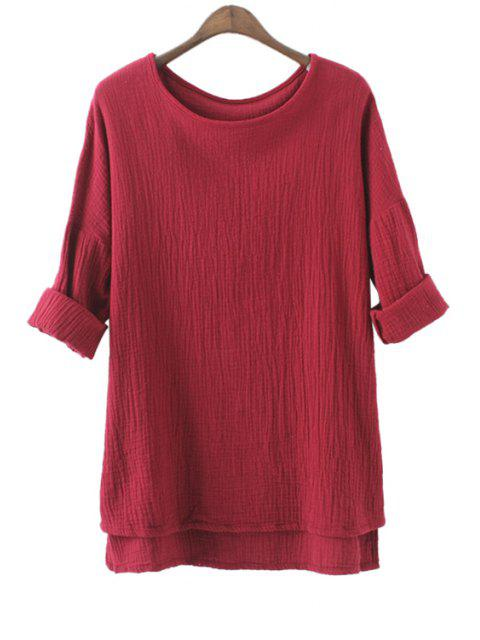outfits Solid Color High-Low Hem Linen T-Shirt - DEEP RED ONE SIZE(FIT SIZE XS TO M) Mobile