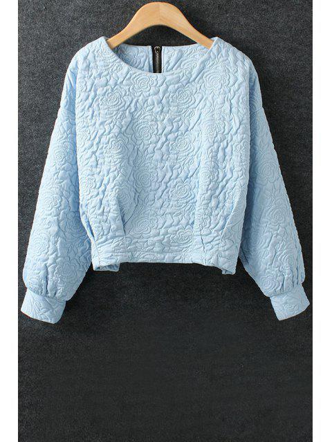 hot Solid Color Flower Pattern Space Cotton Sweatshirt - BLUE L Mobile