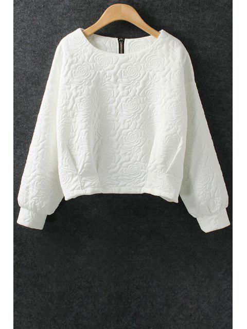 women Solid Color Flower Pattern Space Cotton Sweatshirt - WHITE L Mobile