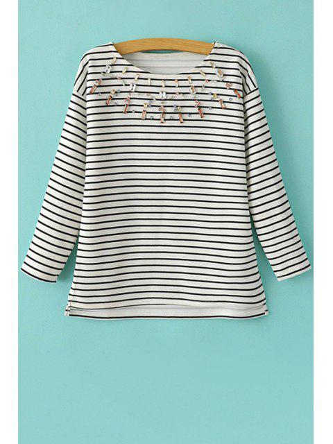 unique Stripe Artificial Gem Embellished Long Sleeve T-Shirt - WHITE AND BLACK M Mobile