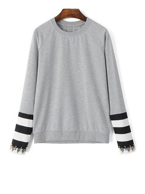chic Artificial Gem Stripe Long Sleeve Sweatshirt -   Mobile