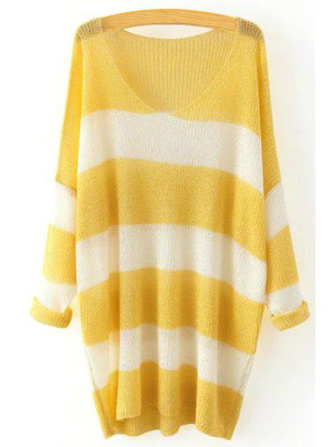 unique V Neck Color Block Stripe Sweater - YELLOW ONE SIZE(FIT SIZE XS TO M) Mobile